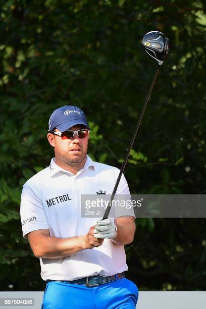 Richie Ramsay of Scotland plays a shot on the 9th hole during the third round of the WGC HSBC Champions at Sheshan International Golf Club on October...