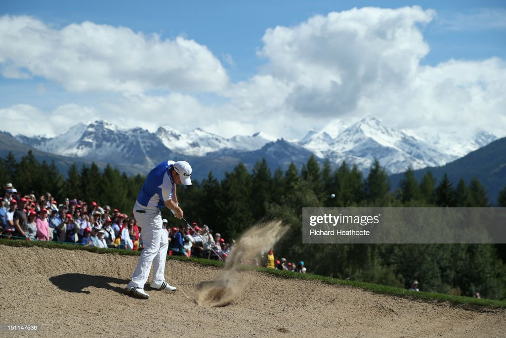 Richie Ramsay of Scotland plays from a fairway bunker on the 12th during final round of the Omega European Masters at Crans-sur-Sierre Golf Club on September 2, 2012 in Crans, Switzerland.