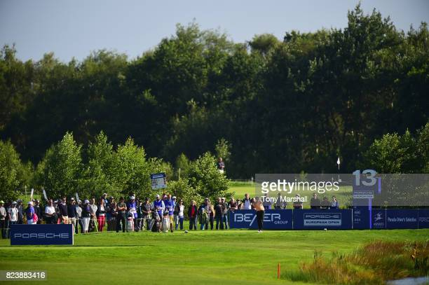 Richie Ramsay of Scotland plays his first shot on the 13th tee during the Porsche European Open Day Two at Green Eagle Golf Course on July 28 2017 in...
