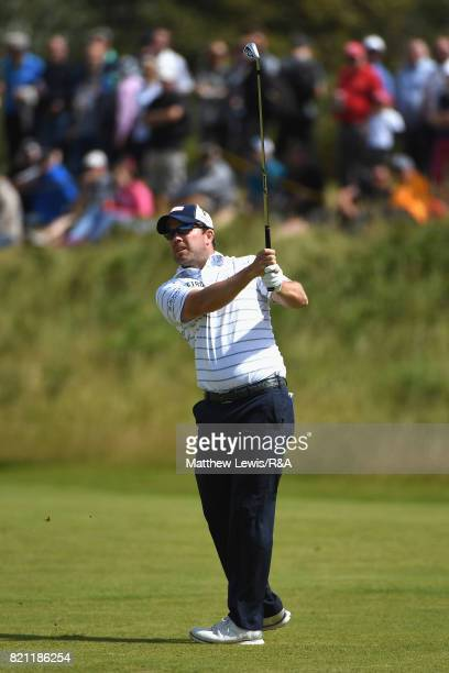 Richie Ramsay of Scotland plays his second shot on the 5th hole during the final round of the 146th Open Championship at Royal Birkdale on July 23...