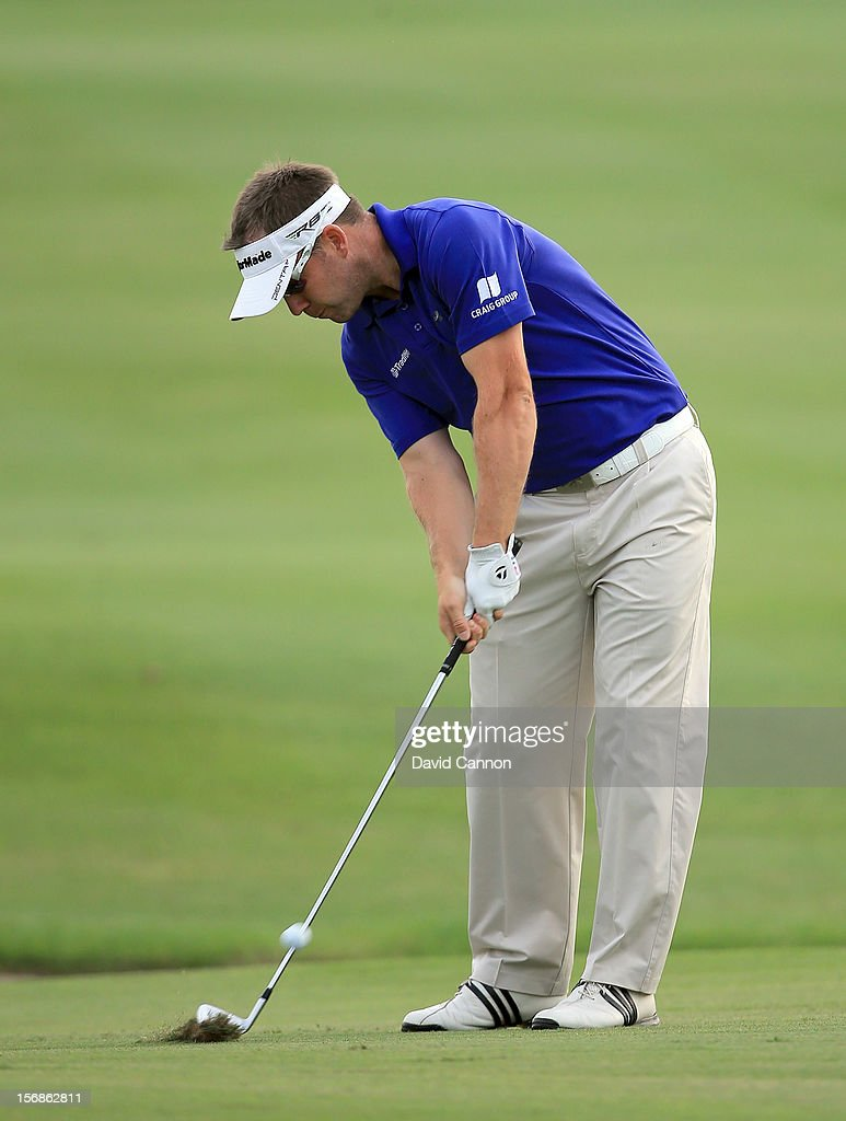 <a gi-track='captionPersonalityLinkClicked' href=/galleries/search?phrase=Richie+Ramsay&family=editorial&specificpeople=2286222 ng-click='$event.stopPropagation()'>Richie Ramsay</a> of Scotland plays his third shot on the par 5, 18th hole during the second round of the 2012 DP World Tour Championship on the Earth Course at Jumeirah Golf Estates on November 23, 2012 in Dubai, United Arab Emirates.