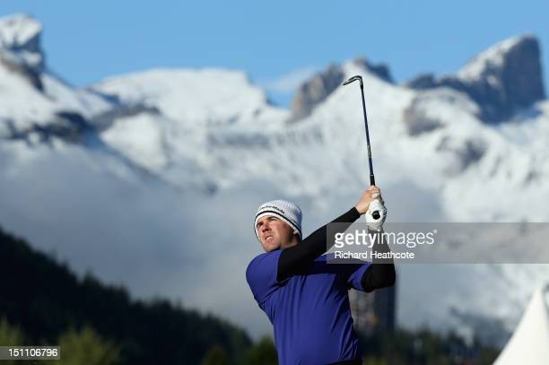 Richie Ramsay of Scotland plays into the 17th green during the third round of the Omega European Masters at CranssurSierre Golf Club on September 1...