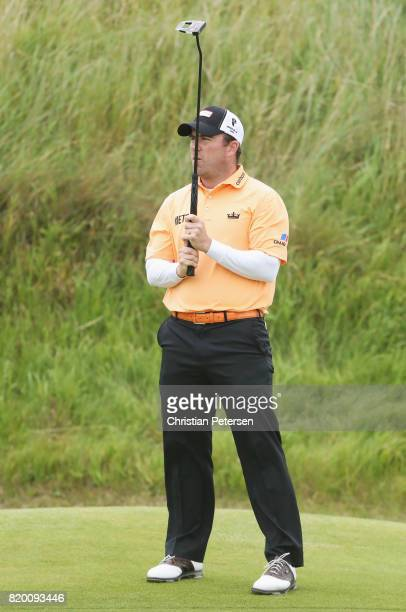Richie Ramsay of Scotland reacts to a putt during the second round of the 146th Open Championship at Royal Birkdale on July 21 2017 in Southport...