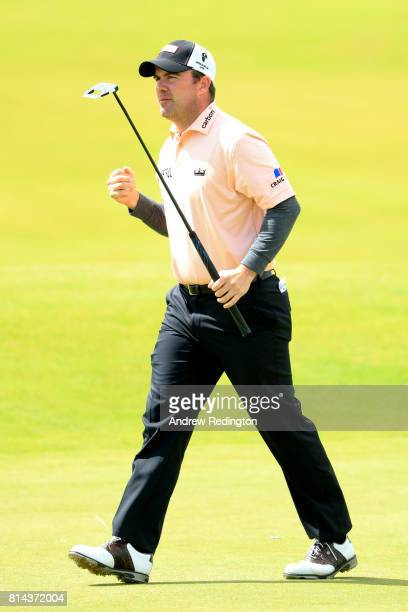 Richie Ramsay of Scotland reacts to a putt on the 9th green during day two of the AAM Scottish Open at Dundonald Links Golf Course on July 14 2017 in...