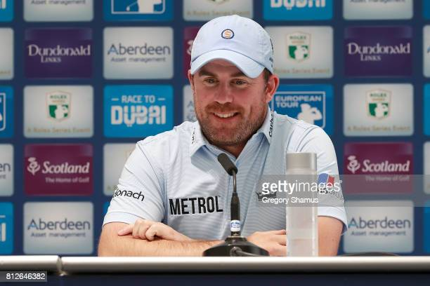 Richie Ramsay of Scotland talk at a press conference during a practice day prior to the AAM Scottish Open at Dundonald Links Golf Course on July 11...
