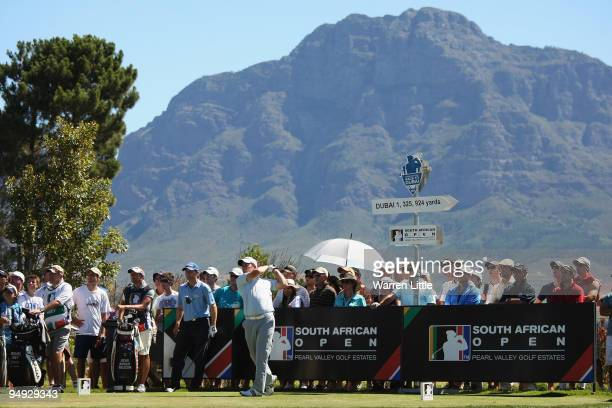 Richie Ramsay of Scotland tees off on 18th hole en route to winning the South African Open Championship at Pearl Valley Golf Club on December 20 2009...