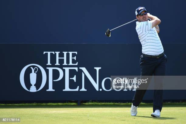 Richie Ramsay of Scotland tees off on the 1st hole during the final round of the 146th Open Championship at Royal Birkdale on July 23 2017 in...