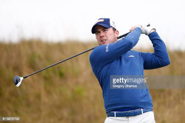 Richie Ramsay of Scotland tees off on the 2nd hole during day one of the AAM Scottish Open at Dundonald Links Golf Course on July 13 2017 in Troon...