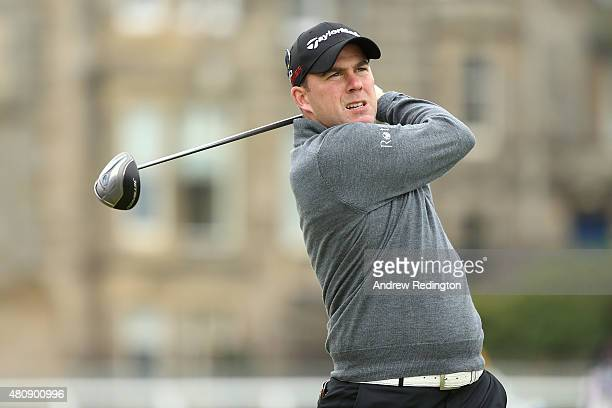 Richie Ramsay of Scotland tees off on the 2nd hole during the first round of the 144th Open Championship at The Old Course on July 16 2015 in St...