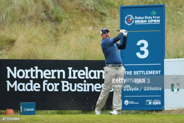 Richie Ramsay of Scotland tees off on the 3rd hole during the final round of the Dubai Duty Free Irish Open at Portstewart Golf Club on July 9 2017...