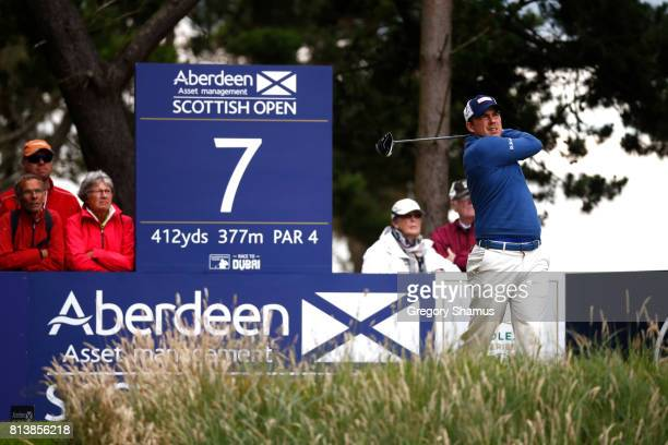 Richie Ramsay of Scotland tees off on the 7th hole during day one of the AAM Scottish Open at Dundonald Links Golf Course on July 13 2017 in Troon...