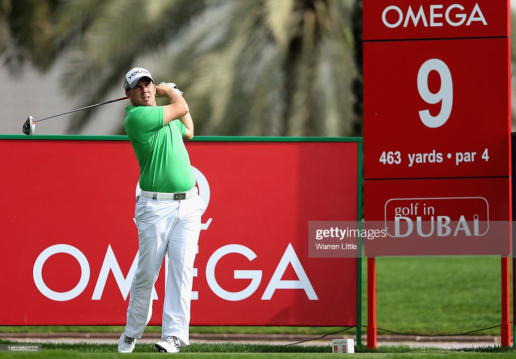 Richie Ramsay of Scotland tees off on the ninth hole during the pro-am of the Omega Dubai Desert Classic at Emirates Golf Club on January 30, 2013 in Dubai, United Arab Emirates.