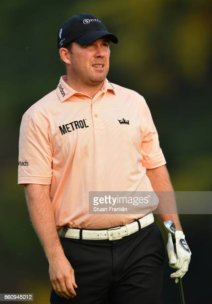 Richie Ramsay of Scotland watches a shot during the second round of The Italian Open at Golf Club Milano Parco Reale di Monza on October 13 2017 in...