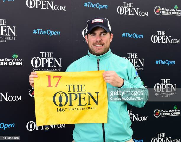 Richie Ramsey of Scotland is presented with his qualifying flag for The Open at Royal Birkdale following the Dubai Duty Free Irish Open hosted by the...