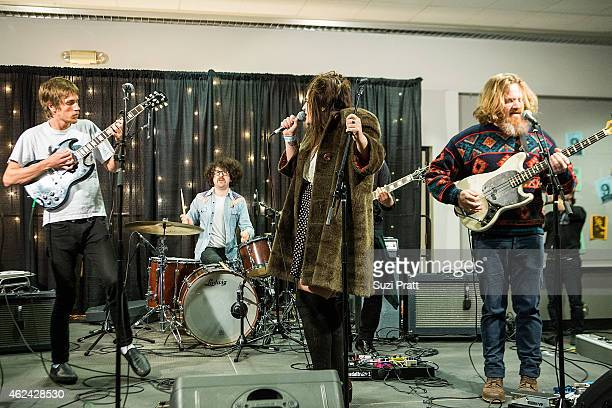 Richie Rekow Pat Schowe Rabia Shaheen Qazi and Nils Petersen of Rose Windows perform at KEXP's new home ground breaking event at Seattle Center on...