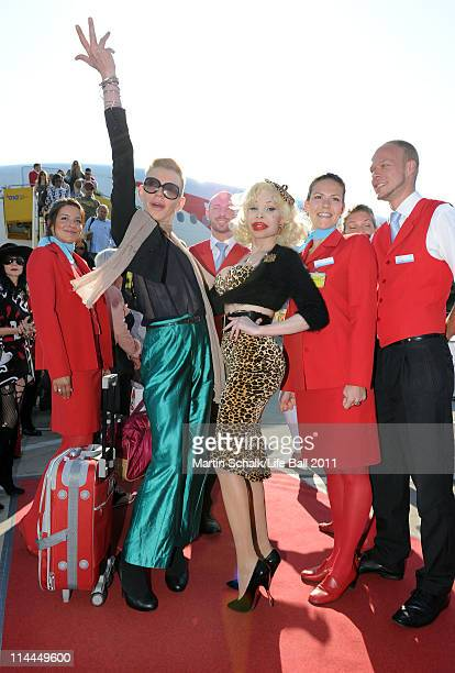 Richie Rich and style icon Amanda Lepore arrive for the Life Ball 2011 gala at Vienna airport on May 20 2011 in Vienna Austria The 19th Life Ball an...