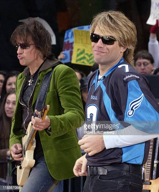 Richie Sambora and Jon Bon Jovi during 'Today' Show 2004 Concert Series Bon Jovi at Rockefeller Plaza in New York City New York United States