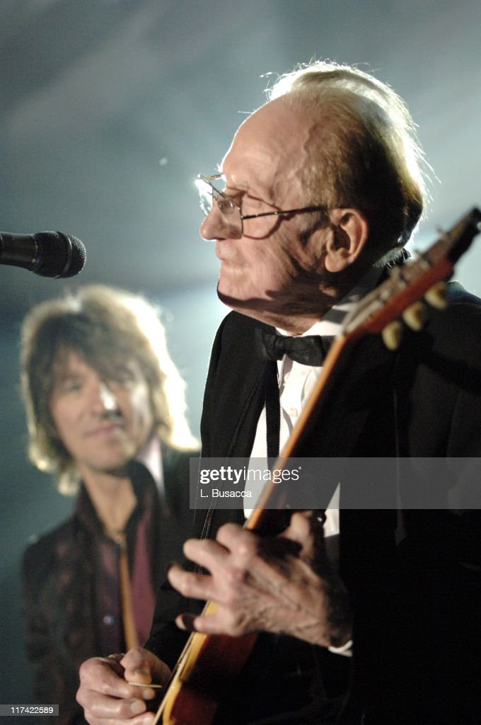 Richie Sambora and Les Paul during 36th Annual Songwriters Hall of Fame Induction Ceremony - Show and Dinner at Marriott Marquis Hotel in New York City, New York, United States.