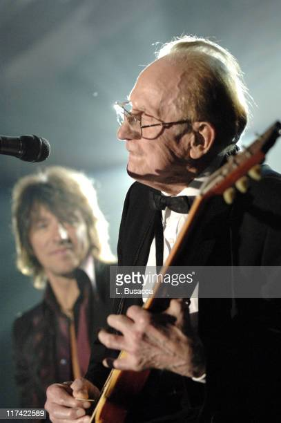 Richie Sambora and Les Paul during 36th Annual Songwriters Hall of Fame Induction Ceremony Show and Dinner at Marriott Marquis Hotel in New York City...