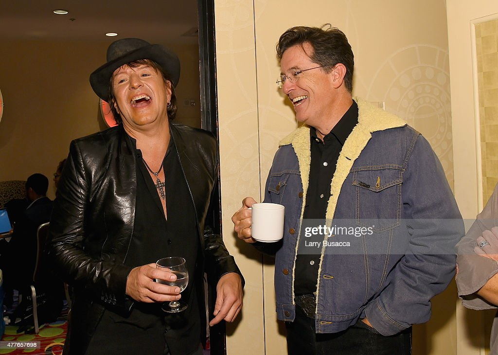 Richie Sambora and Stephen Colber speak backstage at the Songwriters Hall Of Fame 46th Annual Induction And Awards at Marriott Marquis Hotel on June...