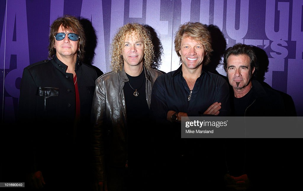 Richie Sambora David Bryan Jon Bon Jovi and Tico Torres attend photocall to open exhibition celebrating 25 years of Bon Jovi on June 7 2010 in London...