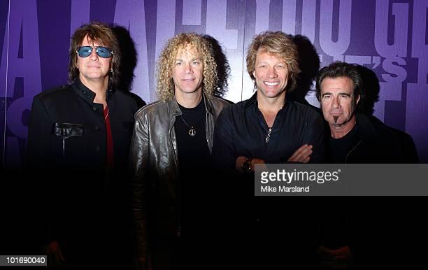 Richie Sambora David Bryan Jon Bon Jovi and Tico Torres attend photocall to open exhibition celebrating 25 years of Bon Jovi on June 7 2010 in London...