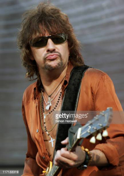 Richie Sambora during Bon Jovi Have A Nice Day Tour at Milton Keynes Bowl in Great Britain June 10 2006 at Milton Keynes Bowl in Milton Keynes Great...