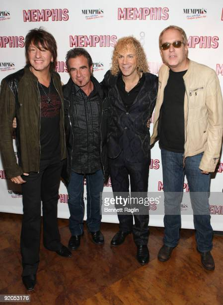 Richie Sambora Tico Torres David Bryan and Hugh McDonald attend the opening night party for 'Memphis' on Broadway at Hard Rock Cafe Times Square on...