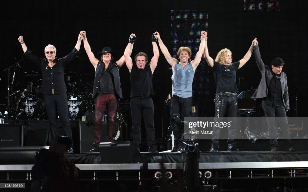 Richie Sambora, Tico Torres, Jon Bon Jovi and David Bryan of Bon Jovi perform during 'The Circle World Tour' at New Meadowlands Stadium on May 26, 2010 in East Rutherford, New Jersey.