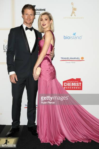 Richie Strahan and Alex Nation arrive at the 59th Annual Logie Awards at Crown Palladium on April 23 2017 in Melbourne Australia