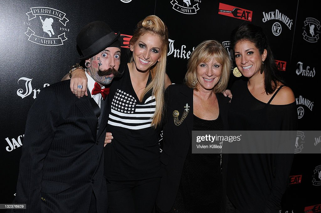 Richie the Barber and photographer Tiffany Rose of the Perri Ink Cartel, her mom and President of Spin PR Kim Koury attend the PERRI INK. Cartel Store Opening on November 11, 2011 in Los Angeles, California.