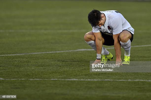 Richie Towell hangs his head in disappointment after the Champions League 2nd round qualifying game between Dundalk FC and BATE Borisov at Oriel Park...