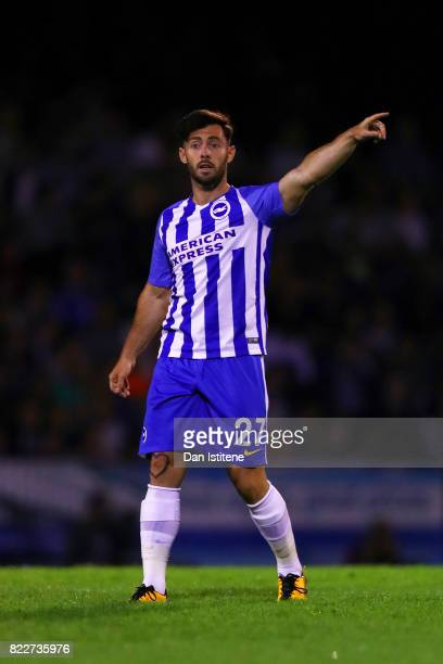 Richie Towell of Brighton Hove Albion signals to his teammates during the preseason friendly match between Southend United and Brighton Hove Albion...