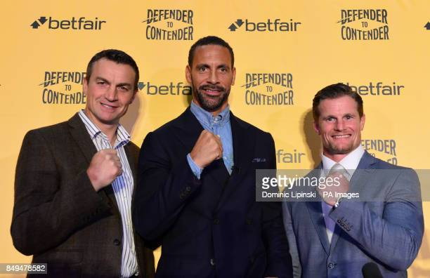 Richie Woodhall Rio Ferdinand and Mel Deane during the press conference at York Hall London