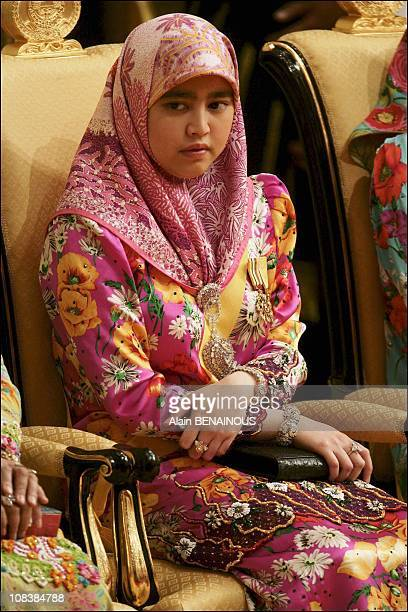 Richly adorned relative of Sultan of Brunei Hassanal Bolkiah during a ceremony at Istana Palace in Bandar Seri Begawan Brunei Darussalam on July 15...