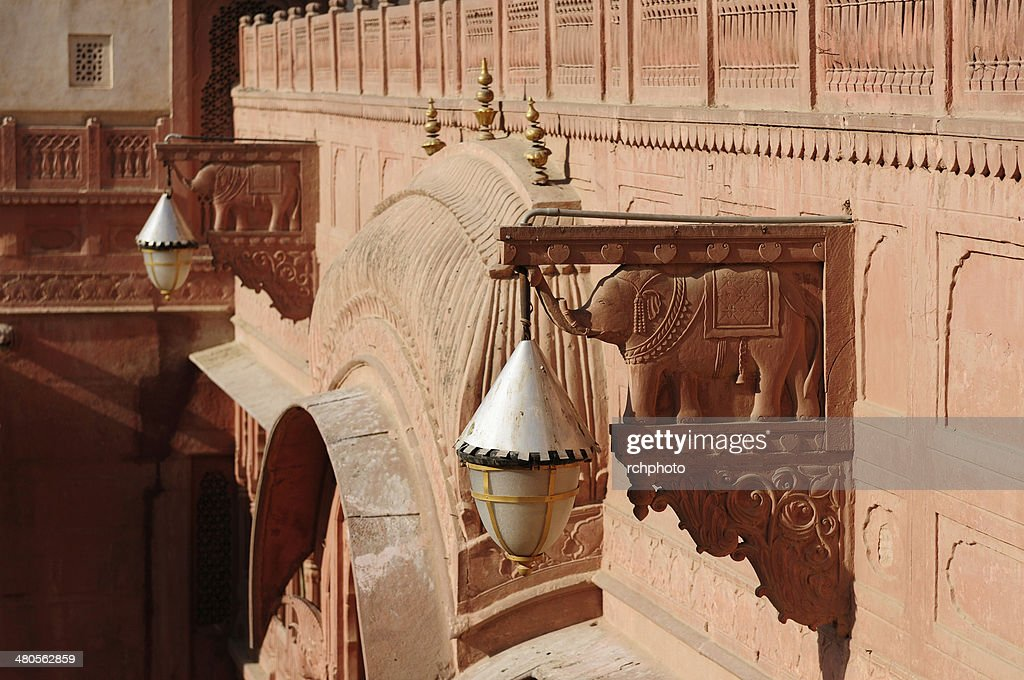 Richly decorated facade of a building in India : Stock Photo