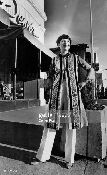 Richly patterned millinery scarf is front panel for a Middleton 'Colorado Coat' Credit Denver Post