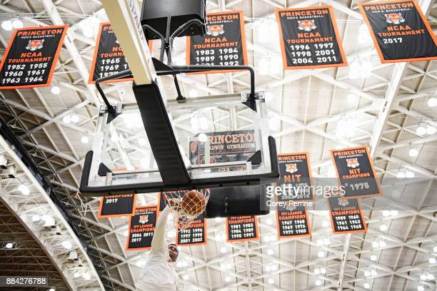 Richmond Aririguzoh of the Princeton Tigers dunks the ball before the game against the Lehigh Mountain Hawks at L Stockwell Jadwin Gymnasium on...
