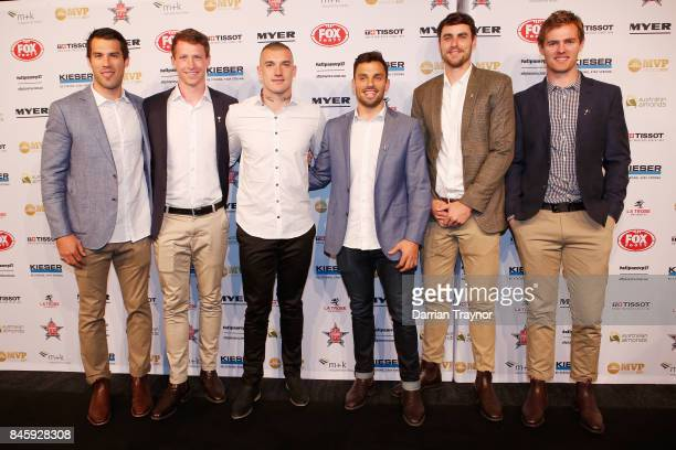 Richmond player Alex Rance Dylan Grimes Dustin Martin Sam Lloyd Ben Griffiths and David Astbury arrive ahead of the AFL Players' MVP Awards at Shed...