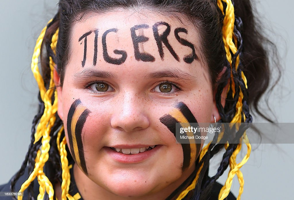 A Richmond Tigers fan shows her support during the round three NAB Cup AFL match between the Hawthorn Hawks and the Richmond Tigers at Aurora Stadium on March 9, 2013 in Launceston, Australia.