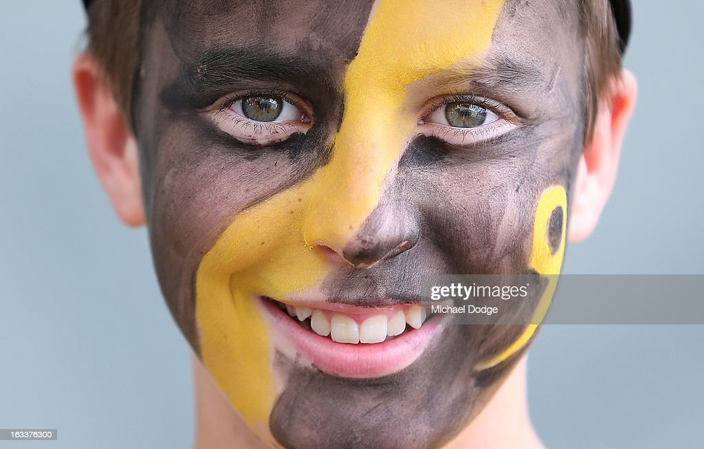 A Richmond Tigers fan shows his support during the round three NAB Cup AFL match between the Hawthorn Hawks and the Richmond Tigers at Aurora Stadium on March 9, 2013 in Launceston, Australia.