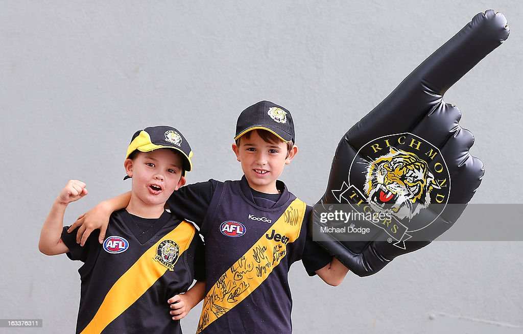 Richmond Tigers fans show their support during the round three NAB Cup AFL match between the Hawthorn Hawks and the Richmond Tigers at Aurora Stadium on March 9, 2013 in Launceston, Australia.