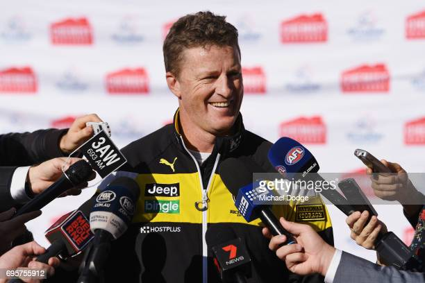 Richmond Tigers head coach Damien Hardwick speaks to media during an AFL media opportunity for Men's Health Wellness Week at the Melbourne Cricket...