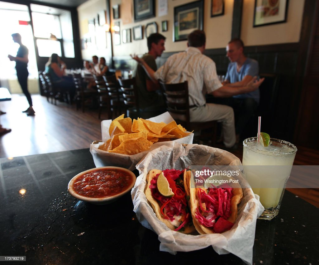 Richmond VA- Fish tacos, chips and salsa and a margarita wait to be enjoyed at Don't Look Back in Richmond, Va. Saturday June 13, 2013. (Photo by Norm Shafer/ For The Washington Post via Getty Images).