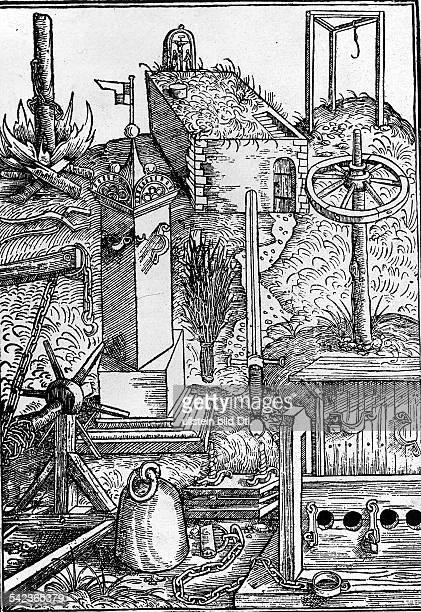 Richtstätten und Folterwerkzeuge derBambergischen Halsgerichtsordnung Scheiterhaufen Schandpfahl StaubbesenRichtschwert Rad Galgen ua