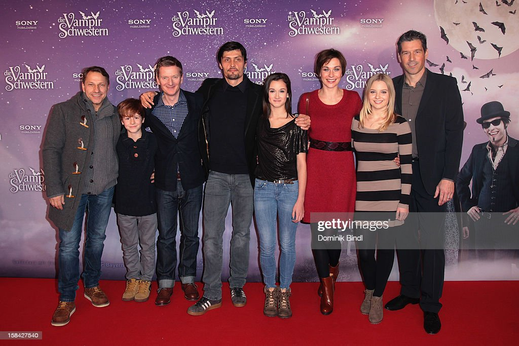 Richy Mueller, Michael Kessler, Stipe Erceg, Laura Roge, Christiane Paul, Marta Martin and Wolfgang Groos attend the 'Die Vampirschwestern' Germany Premiere on December 16, 2012 in Munich, Germany.