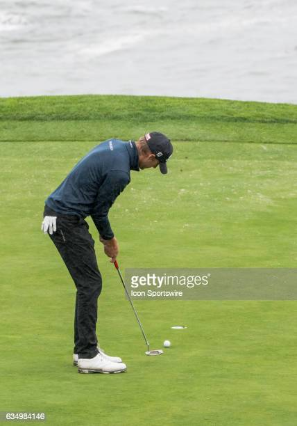 Richy Werenski taps in for a twoputt on the 5th green during the second round of the ATT Pebble Beach ProAm in Pebble Beach CA on Friday February 10...