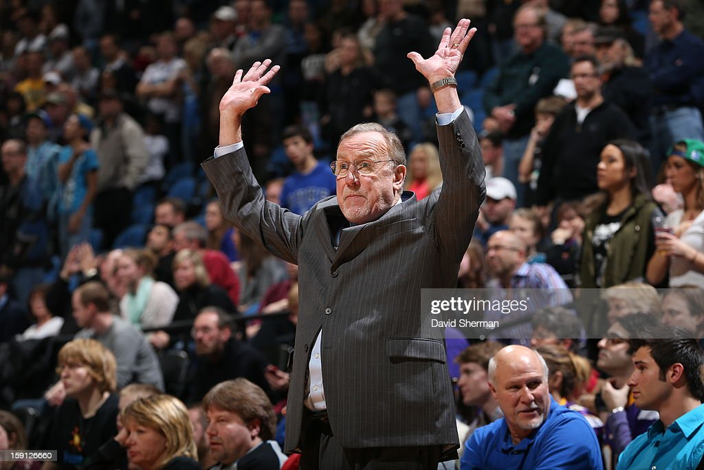<a gi-track='captionPersonalityLinkClicked' href=/galleries/search?phrase=Rick+Adelman&family=editorial&specificpeople=209189 ng-click='$event.stopPropagation()'>Rick Adelman</a> of the Minnesota Timberwolves calls plays from the bench in the game against the Portland Trail Blazers on January 5, 2013 at Target Center in Minneapolis, Minnesota.