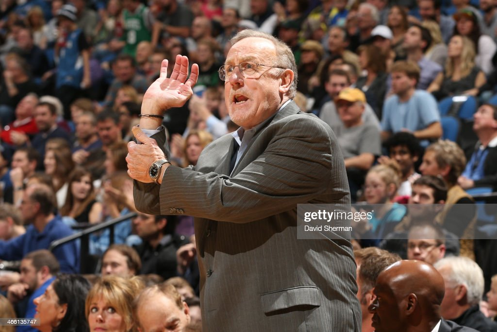 <a gi-track='captionPersonalityLinkClicked' href=/galleries/search?phrase=Rick+Adelman&family=editorial&specificpeople=209189 ng-click='$event.stopPropagation()'>Rick Adelman</a> of the Minnesota Timberwolves coaches from the bench during the game against the Boston Celticson November 16, 2013 at Target Center in Minneapolis, Minnesota.