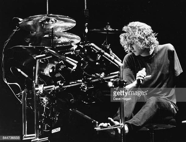 Rick Allen drummer with the band 'Def Leppard' rehearsing with his modified drum kit to accommodate the loss of his left arm on stage in Sheffield...